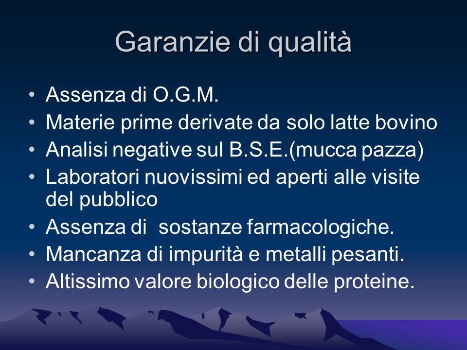 Garanzie di qualità Assenza di O.G.M.