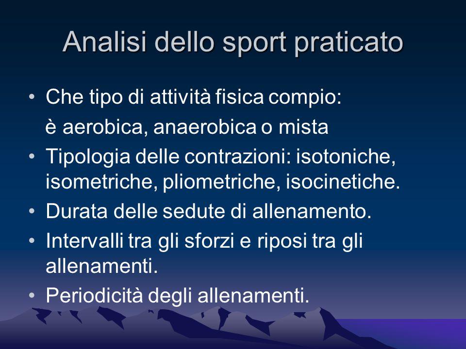 Analisi dello sport praticato