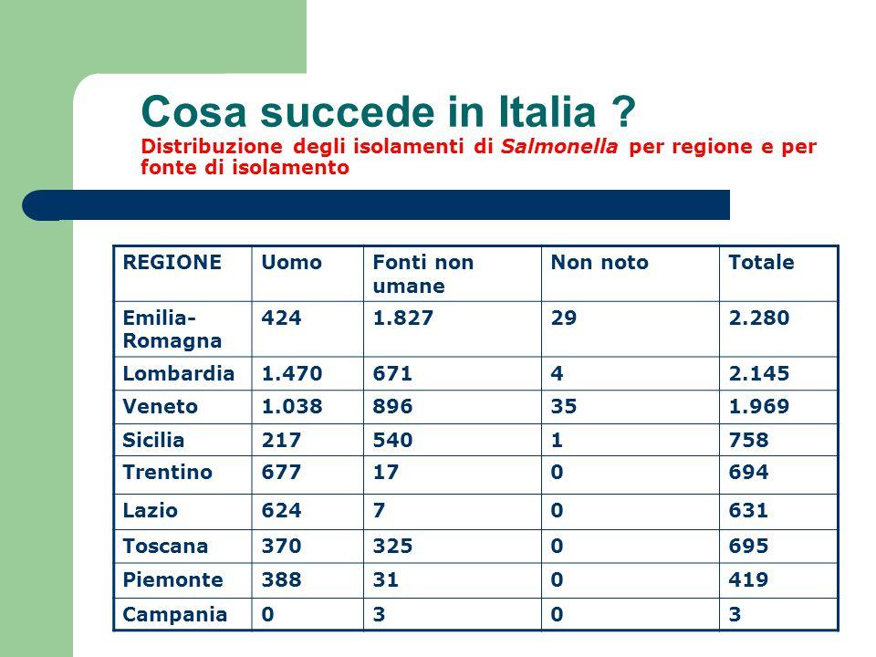 Cosa succede in Italia Distribuzione degli isolamenti di Salmonella per regione e per fonte di isolamento