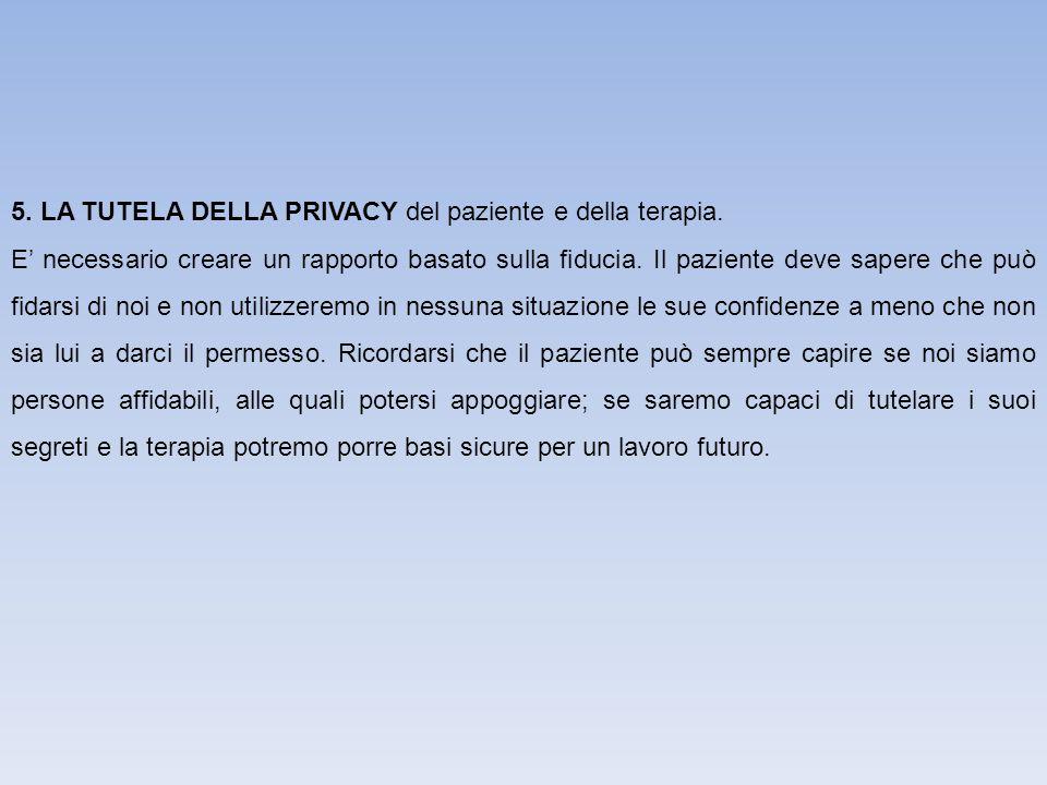 5. LA TUTELA DELLA PRIVACY del paziente e della terapia.
