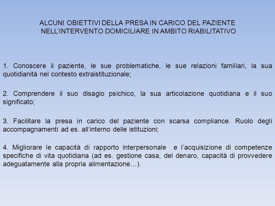 ALCUNI OBIETTIVI DELLA PRESA IN CARICO DEL PAZIENTE