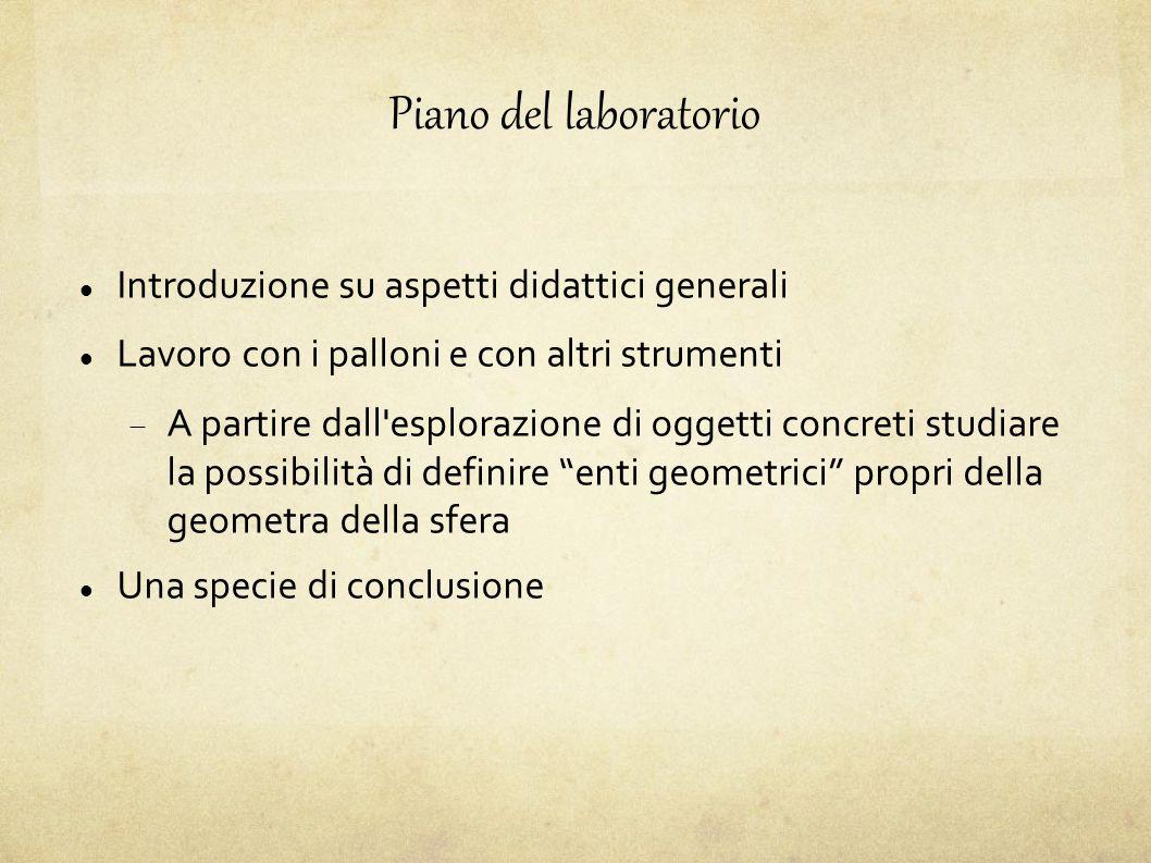 Piano del laboratorio Introduzione su aspetti didattici generali
