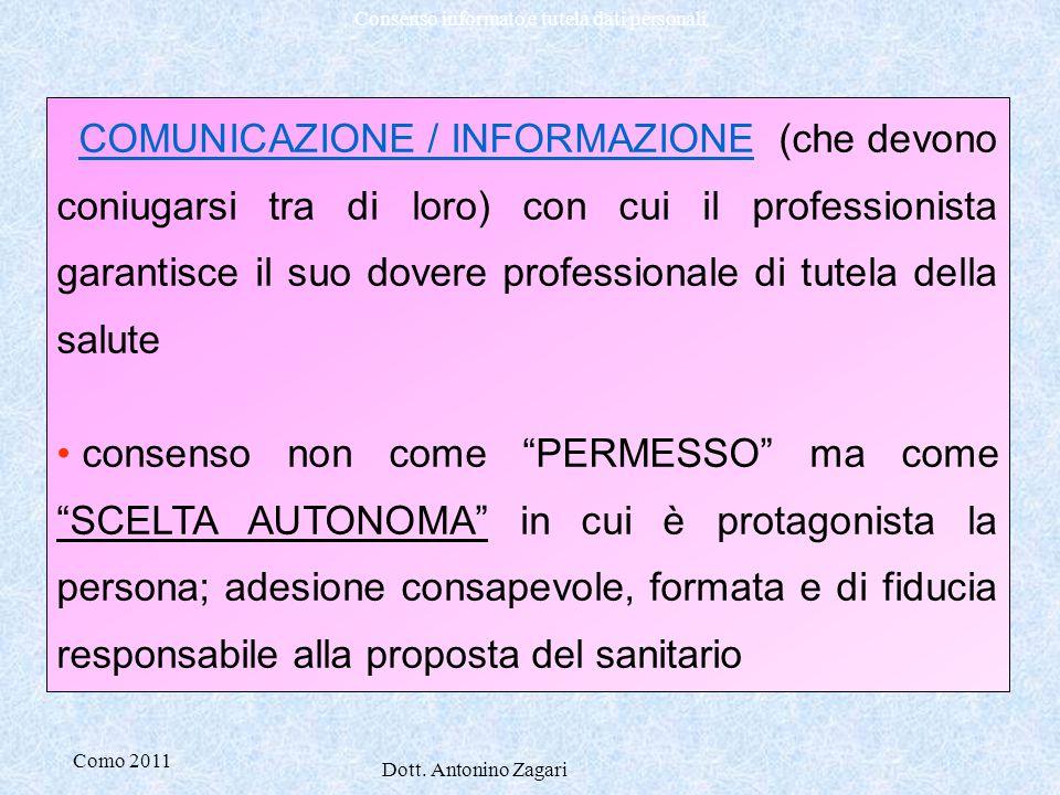 COMUNICAZIONE / INFORMAZIONE (che devono coniugarsi tra di loro) con cui il professionista garantisce il suo dovere professionale di tutela della salute