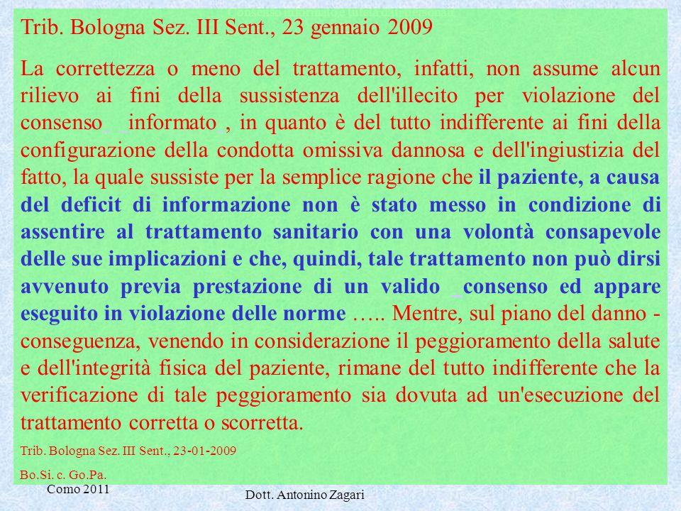 Trib. Bologna Sez. III Sent., 23 gennaio 2009