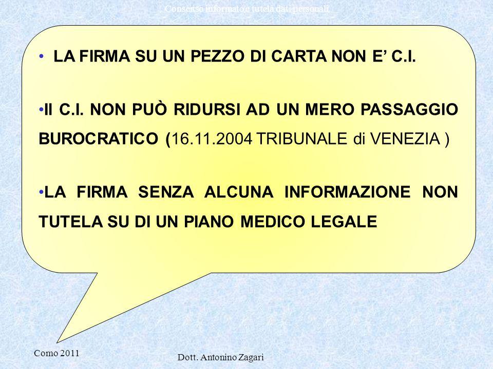 LA FIRMA SU UN PEZZO DI CARTA NON E' C.I.