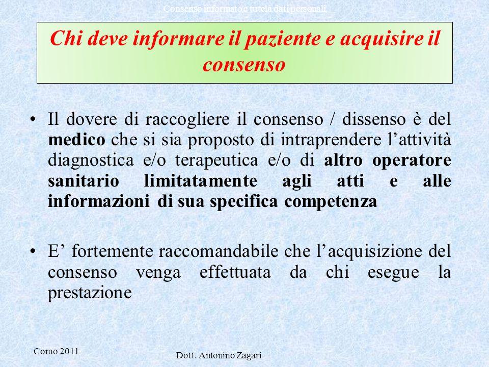 Chi deve informare il paziente e acquisire il consenso