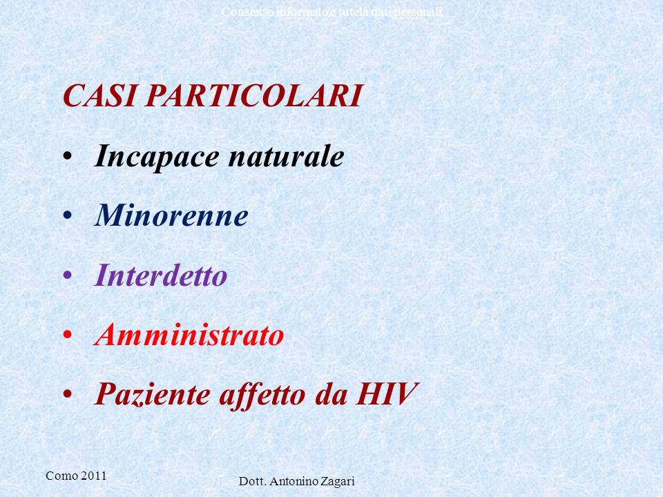 CASI PARTICOLARI Incapace naturale Minorenne Interdetto Amministrato Paziente affetto da HIV