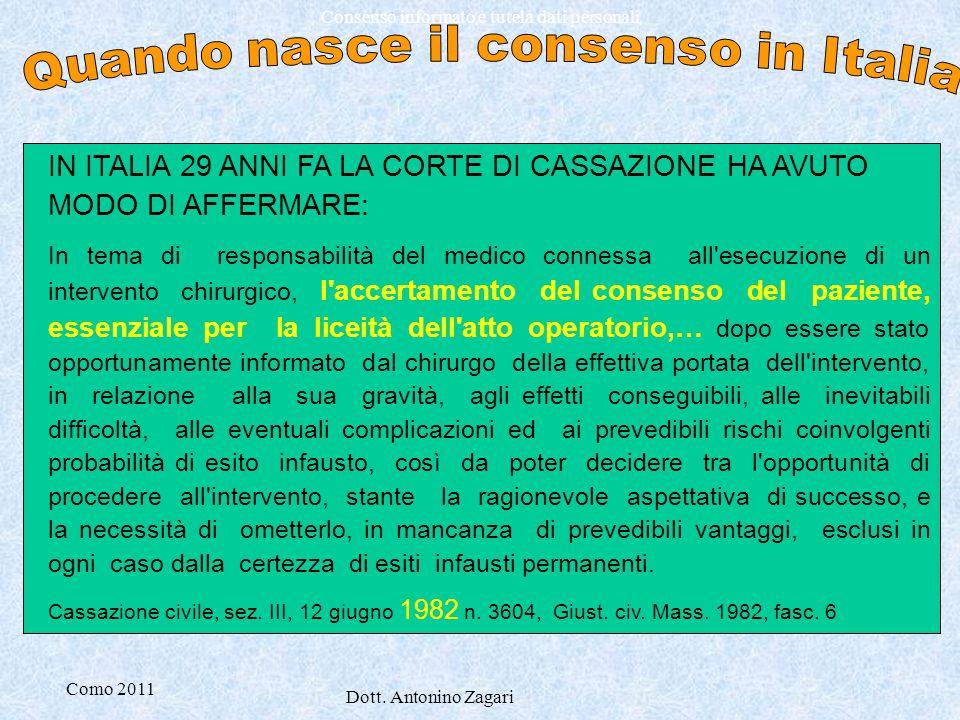 Quando nasce il consenso in Italia