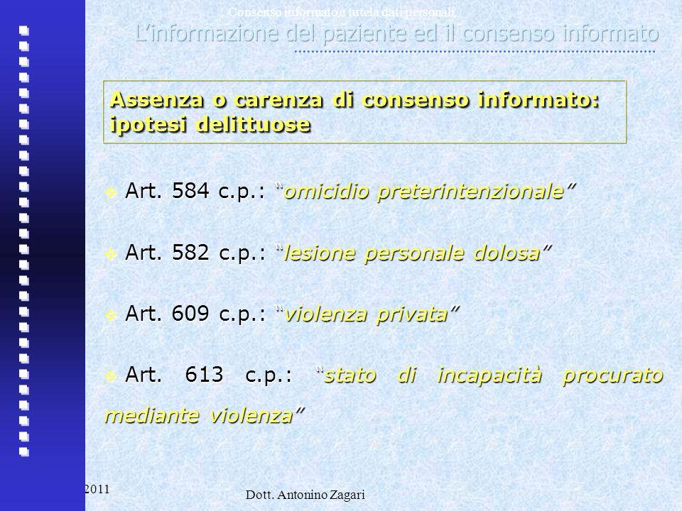 L'informazione del paziente ed il consenso informato