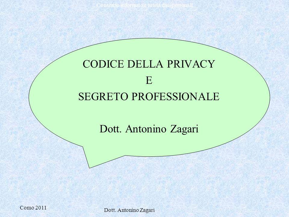 CODICE DELLA PRIVACY E SEGRETO PROFESSIONALE Dott. Antonino Zagari