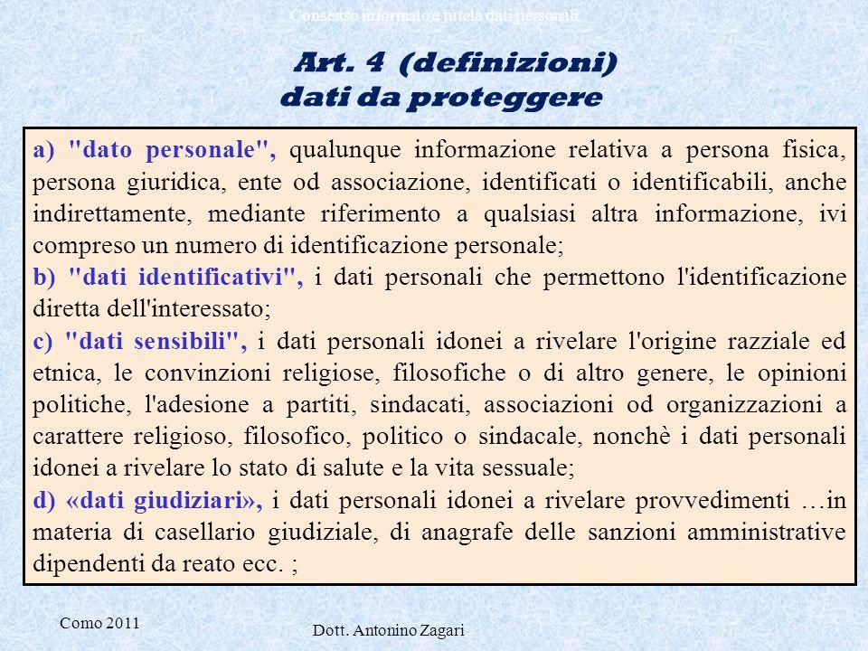 Art. 4 (definizioni) dati da proteggere