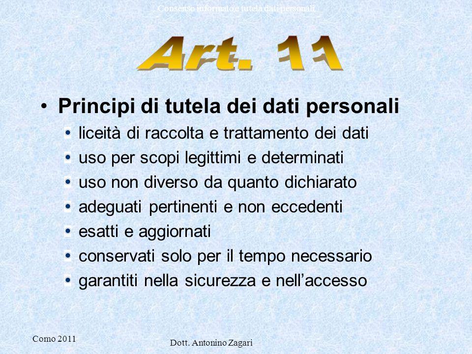 Art. 11 Principi di tutela dei dati personali