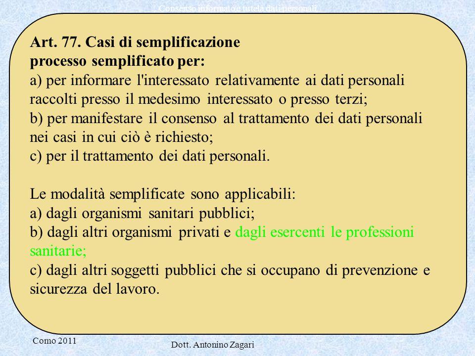 Art. 77. Casi di semplificazione processo semplificato per: