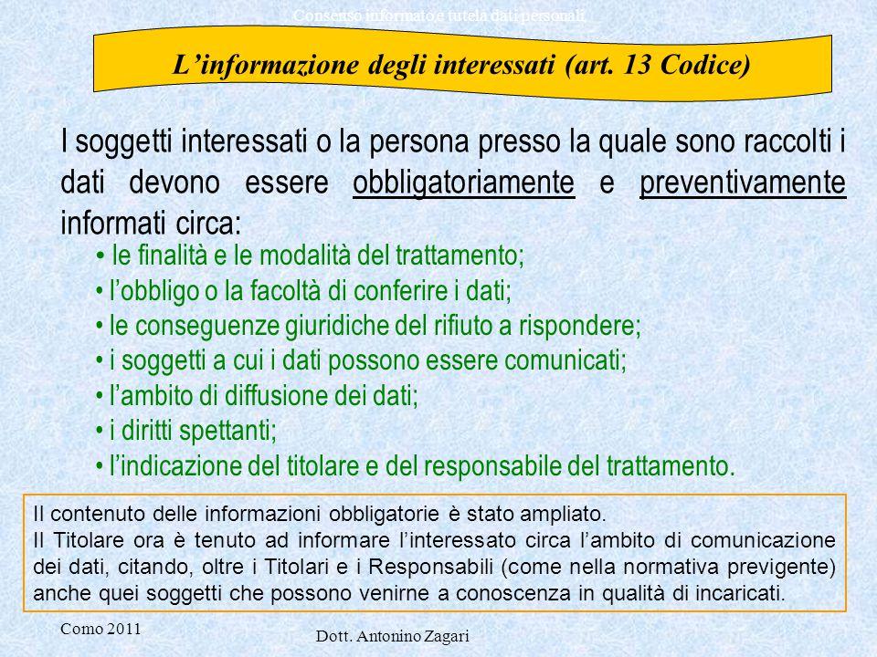 L'informazione degli interessati (art. 13 Codice)