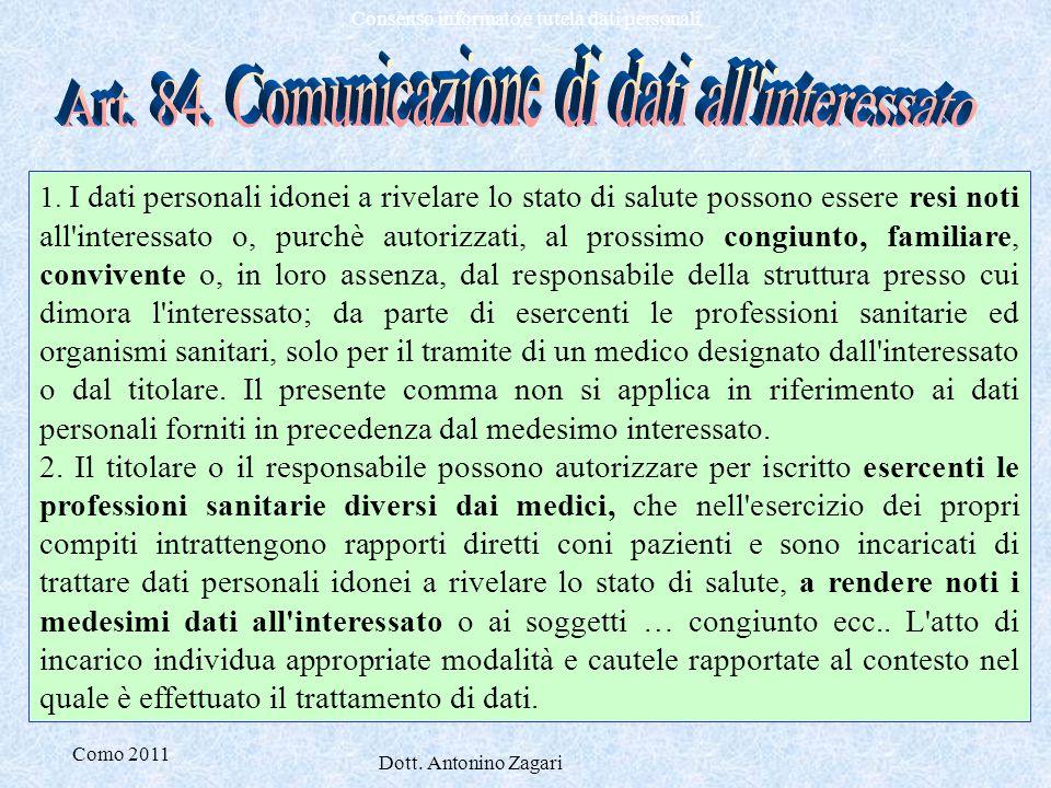 Art. 84. Comunicazione di dati all interessato
