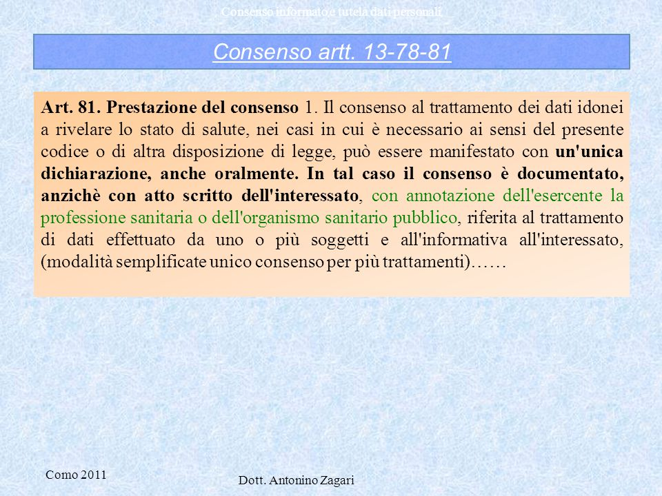 Consenso artt. 13-78-81