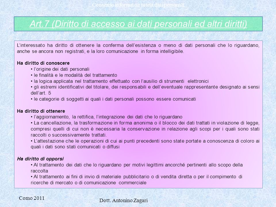 Art.7 (Diritto di accesso ai dati personali ed altri diritti)
