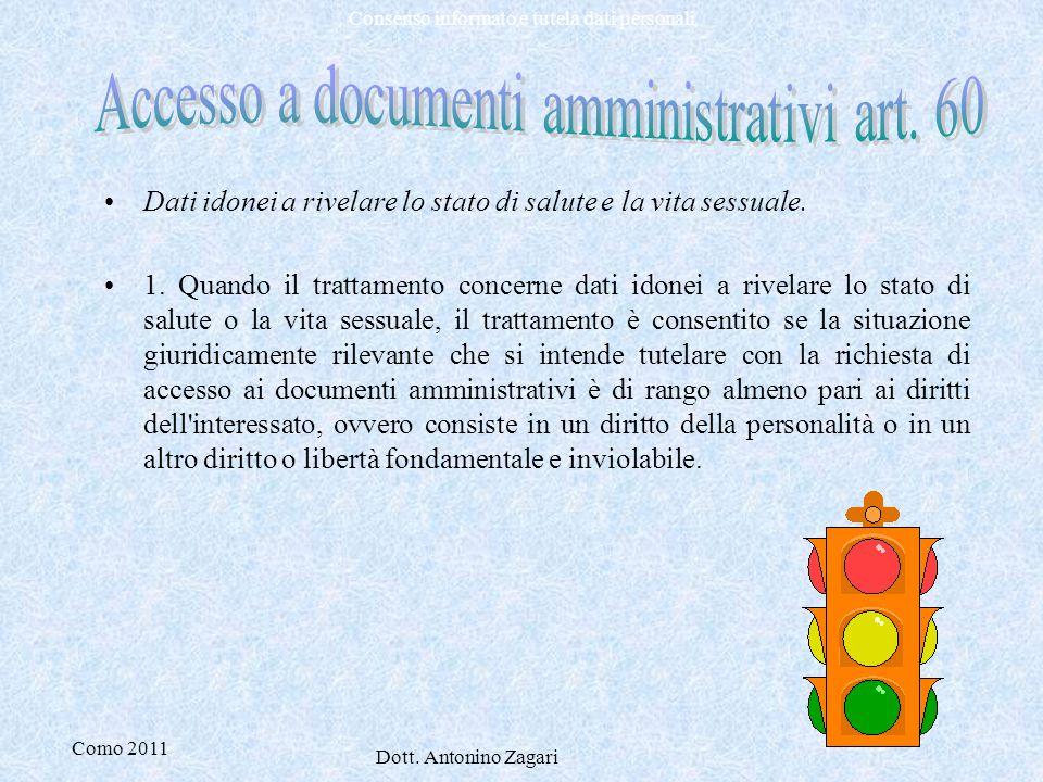 Accesso a documenti amministrativi art. 60