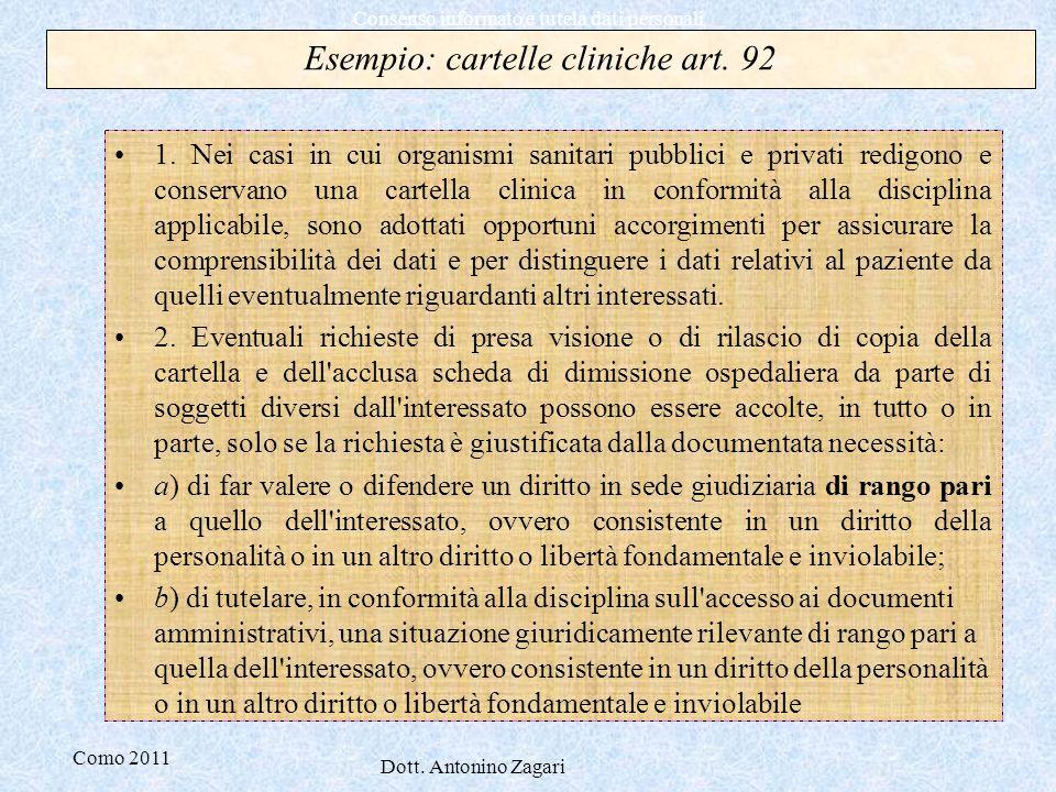 Esempio: cartelle cliniche art. 92