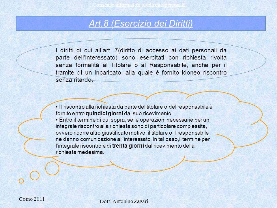 Art.8 (Esercizio dei Diritti)