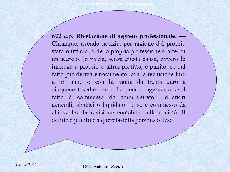 622 c. p. Rivelazione di segreto professionale