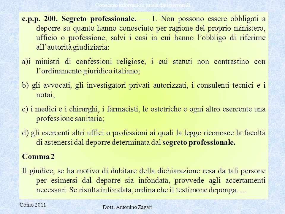c. p. p. 200. Segreto professionale. — 1