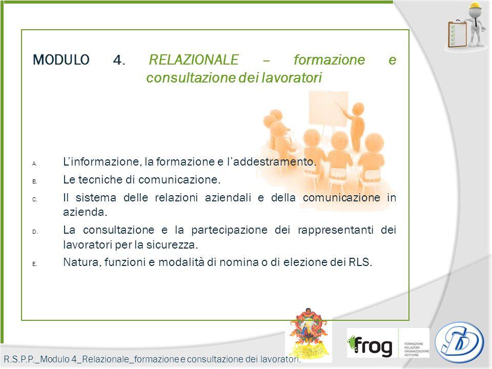 MODULO 4. RELAZIONALE – formazione e consultazione dei lavoratori