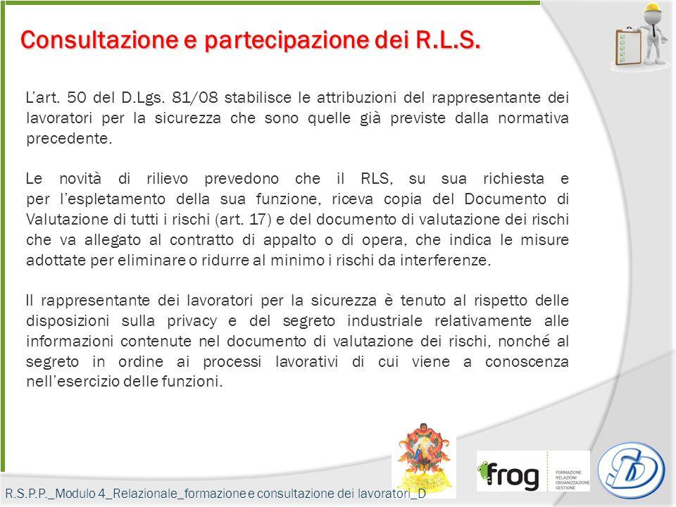 Consultazione e partecipazione dei R.L.S.