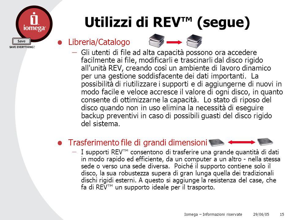 Utilizzi di REV™ (segue)