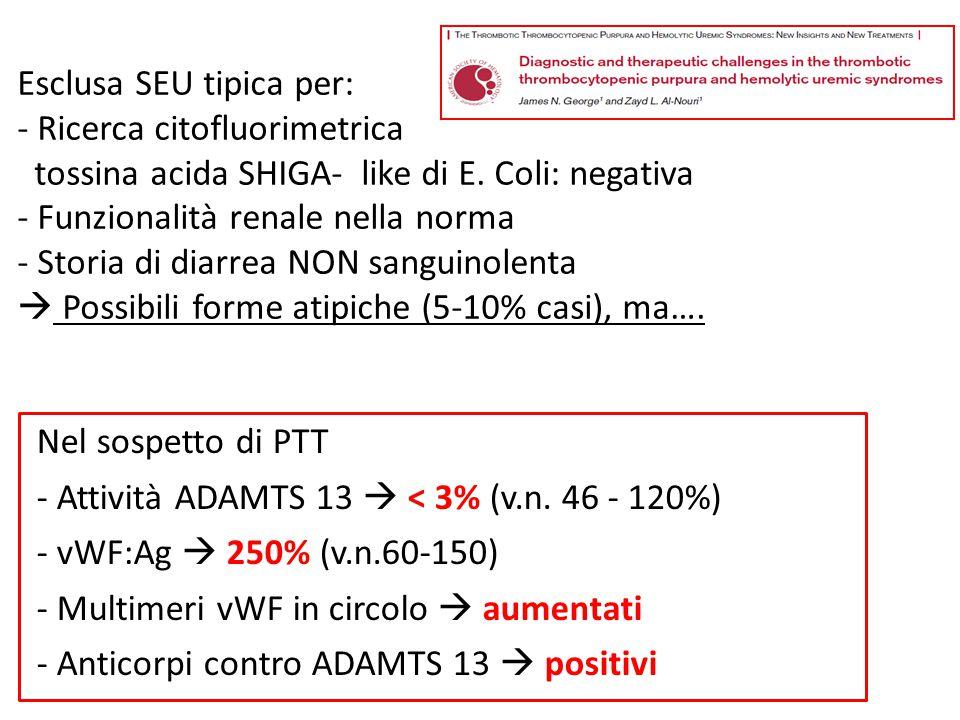 Esclusa SEU tipica per: - Ricerca citofluorimetrica tossina acida SHIGA- like di E. Coli: negativa - Funzionalità renale nella norma - Storia di diarrea NON sanguinolenta  Possibili forme atipiche (5-10% casi), ma….
