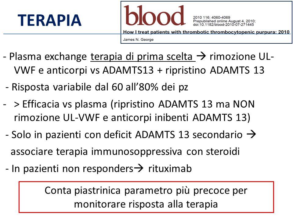 TERAPIA - Plasma exchange terapia di prima scelta  rimozione UL- VWF e anticorpi vs ADAMTS13 + ripristino ADAMTS 13.