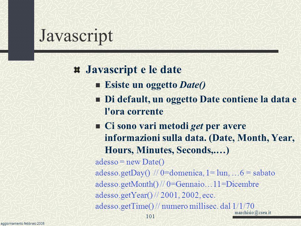 Javascript Javascript e le date Esiste un oggetto Date()