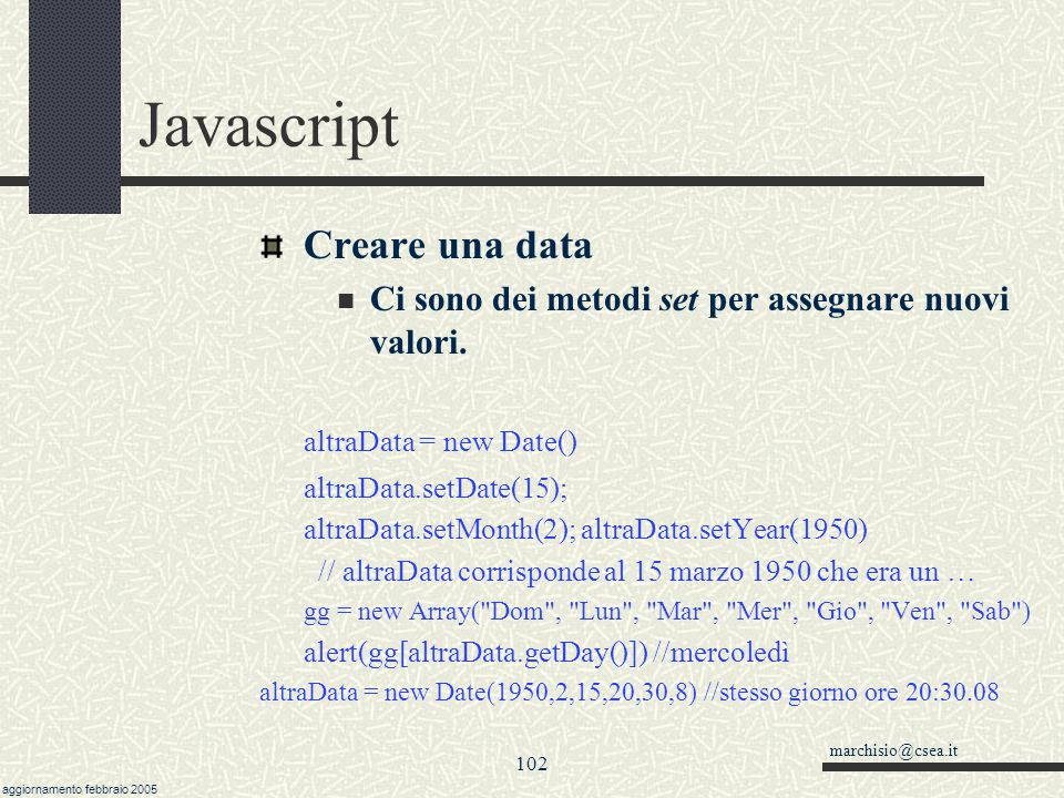 Javascript Creare una data