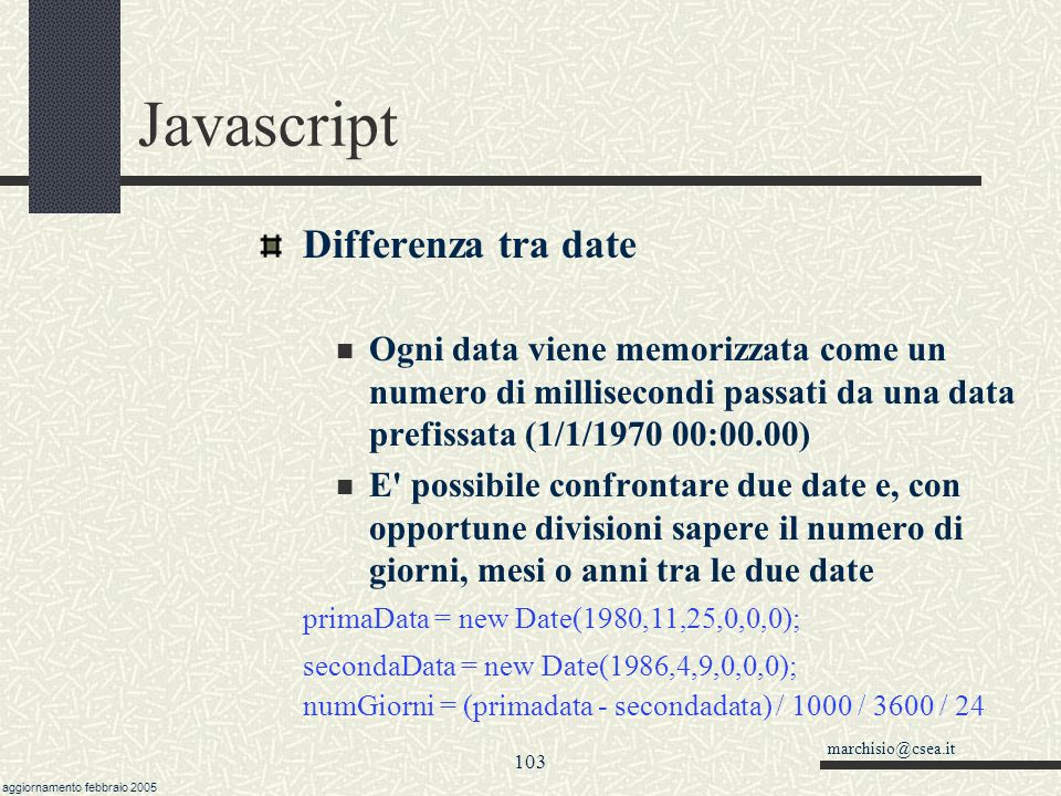 Javascript Differenza tra date