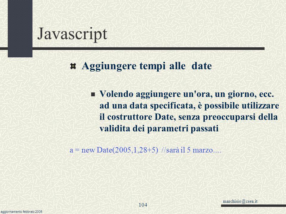 Javascript Aggiungere tempi alle date