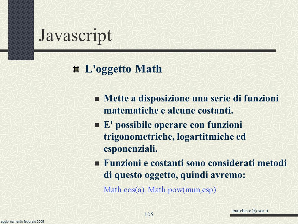 Javascript L oggetto Math