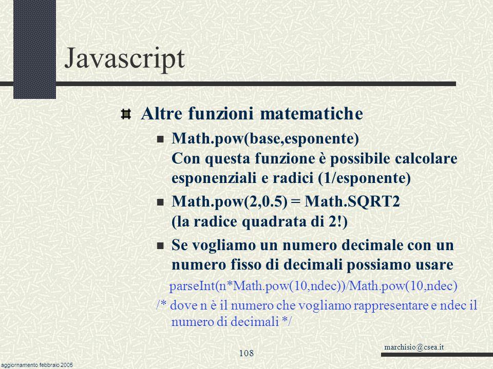 Javascript Altre funzioni matematiche