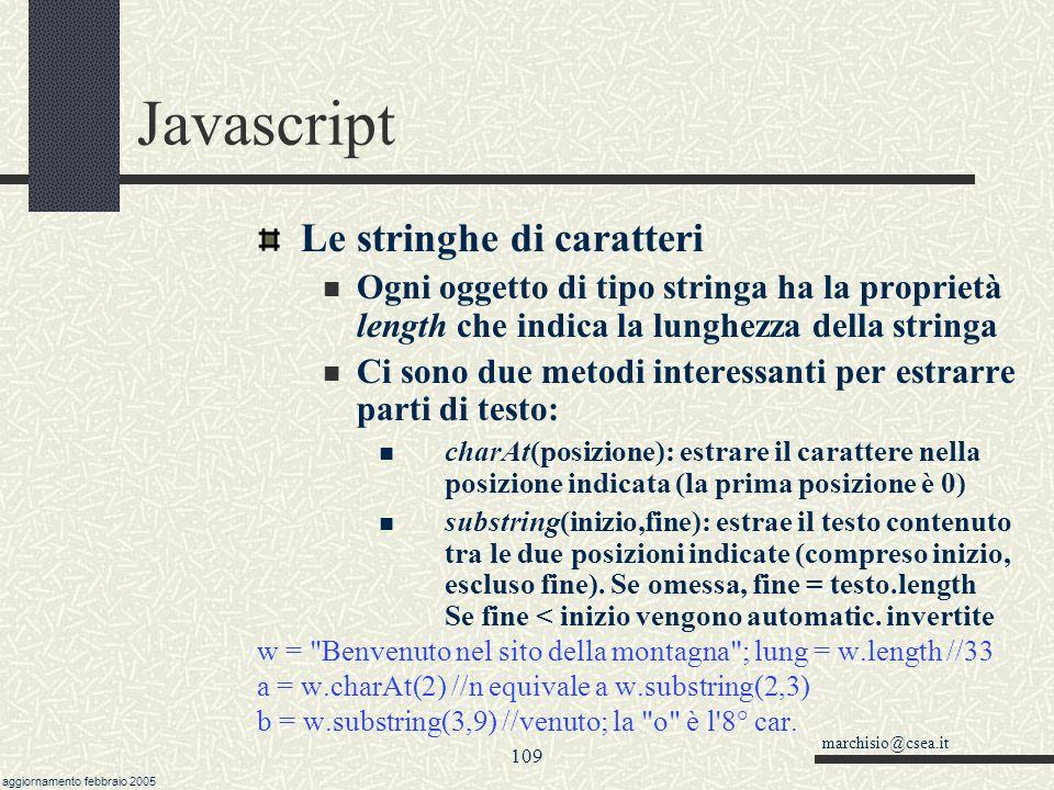 Javascript Le stringhe di caratteri