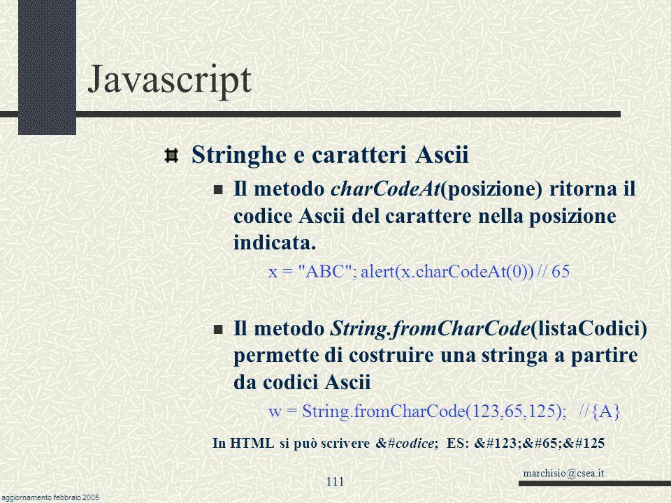 Javascript Stringhe e caratteri Ascii