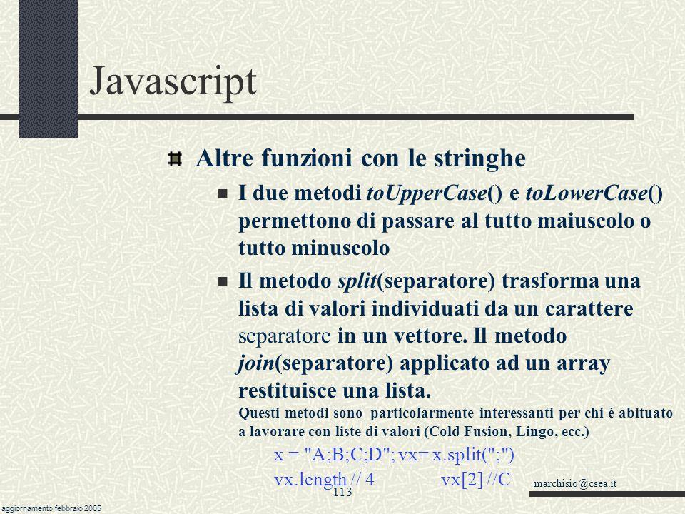 Javascript Altre funzioni con le stringhe