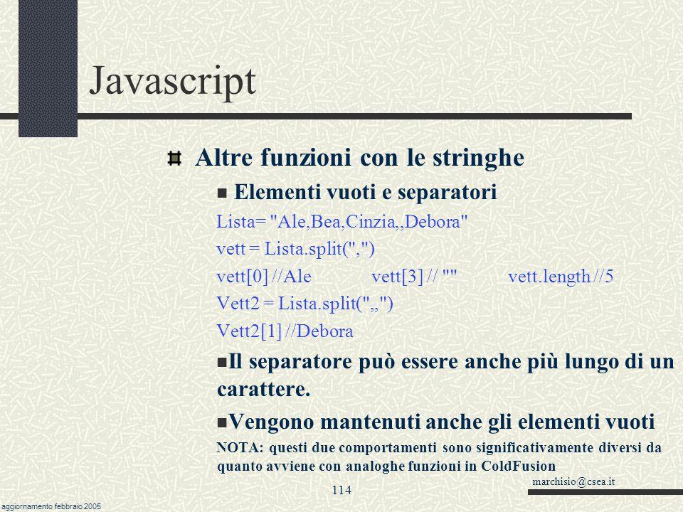 Javascript Altre funzioni con le stringhe Elementi vuoti e separatori