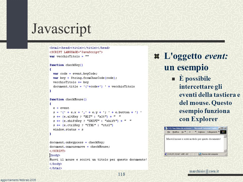 Javascript L oggetto event: un esempio