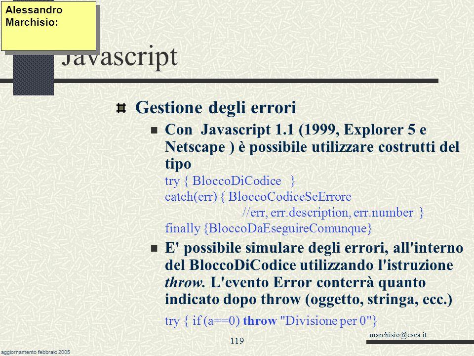 Javascript Gestione degli errori