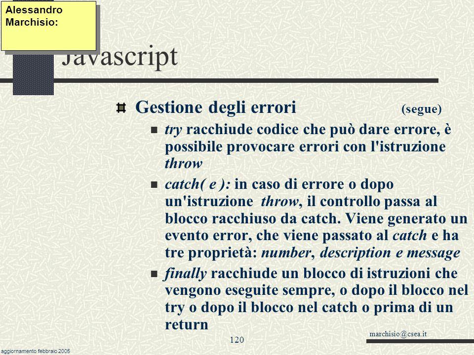 Javascript Gestione degli errori (segue)