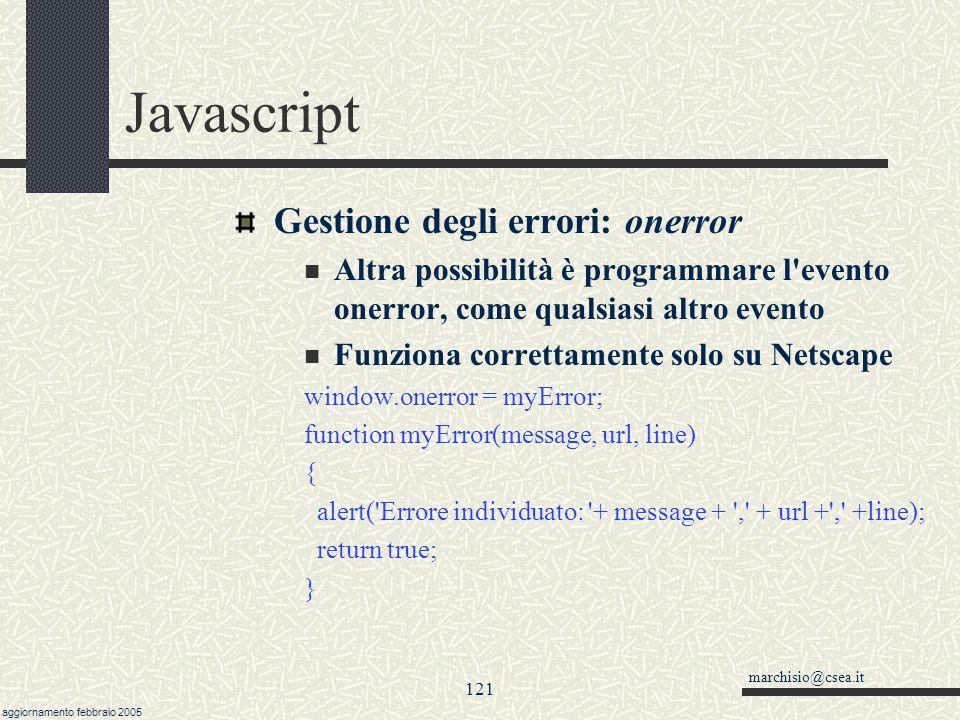 Javascript Gestione degli errori: onerror