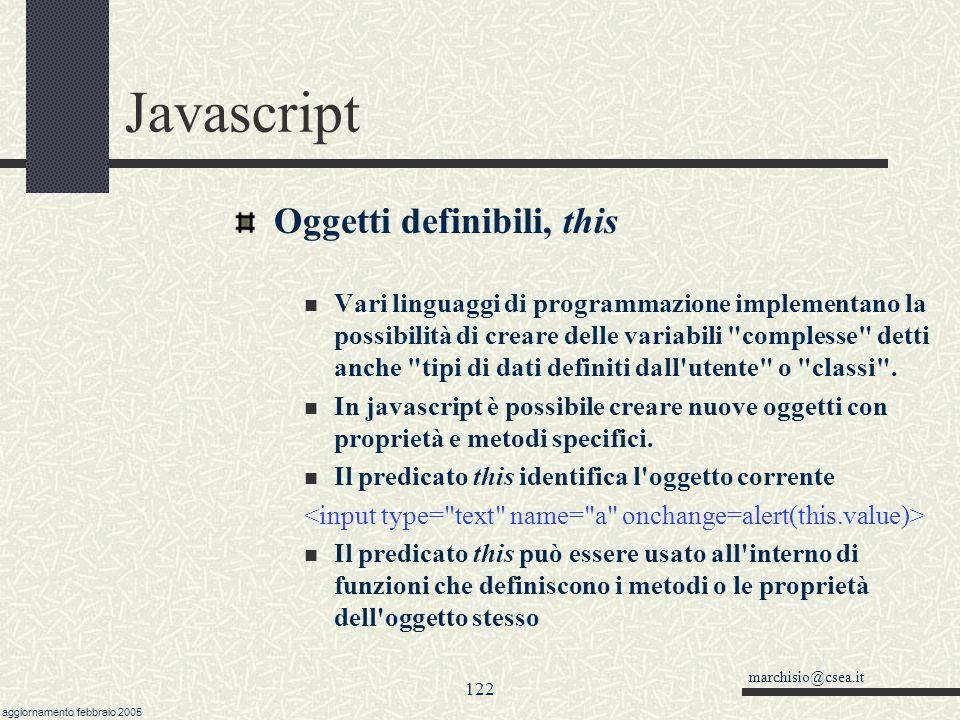 Javascript Oggetti definibili, this