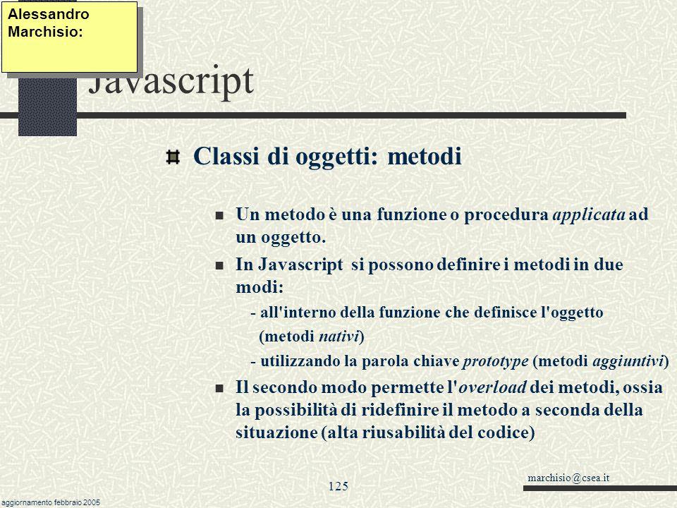 Javascript Classi di oggetti: metodi