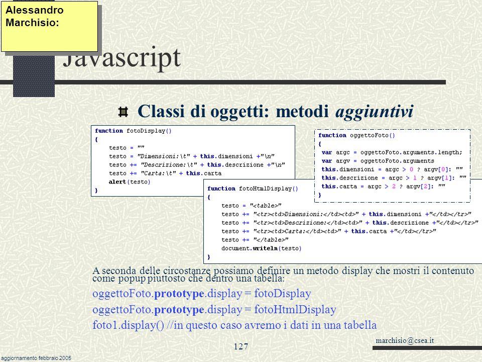 Javascript Classi di oggetti: metodi aggiuntivi
