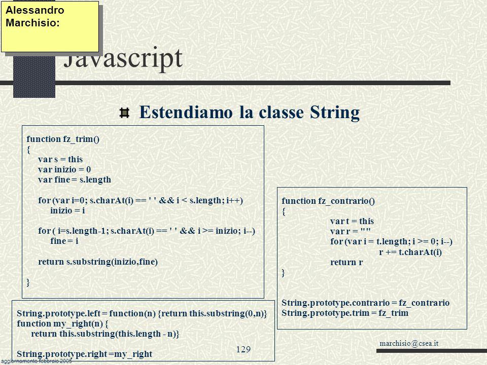 Javascript Estendiamo la classe String Alessandro Marchisio: