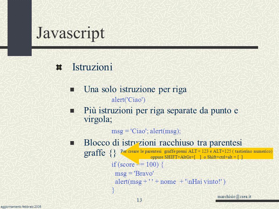 Javascript Istruzioni Una solo istruzione per riga alert( Ciao )